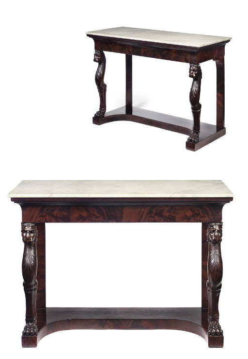 A PAIR OF RESTAURATION MARBLE-TOPPED MAHOGANY CONSOLES