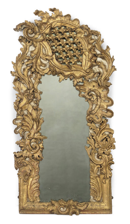 A GERMAN GILTWOOD AND CREAM-PA