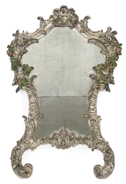 AN ITALIAN SILVER-GILT AND PART-PAINTED MIRROR