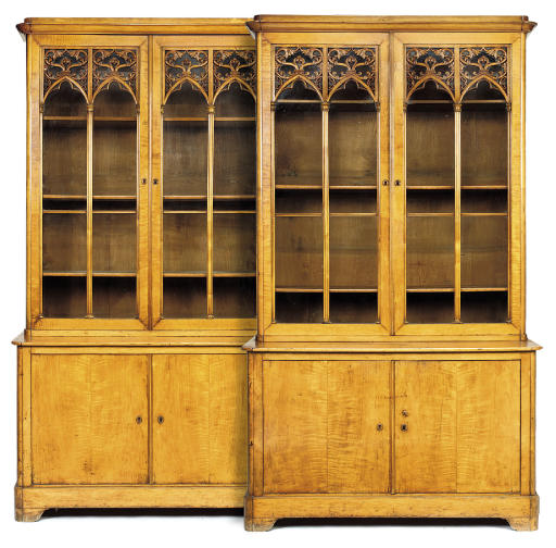 A PAIR OF CHARLES X SATIN-BIRCH BOOKCASES