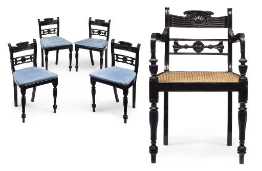 A SET OF TWELVE ANGLO-INDIAN EBONY DINING-CHAIRS INCLUDING TWO OPEN ARMCHAIRS