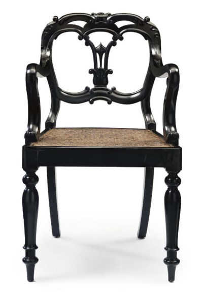 AN ANGLO-INDIAN EBONISED OPEN