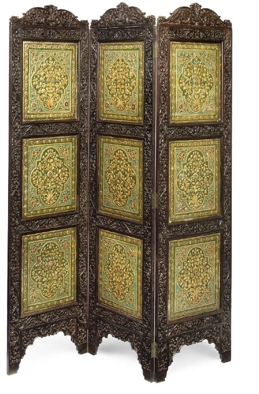 AN ANGLO-INDIAN CARVED HARDWOOD, POLYCHROME-PAINTED AND GILT-GESSO REVERSIBLE 'DAY' AND 'NIGHT' THREE-FOLD SCREEN