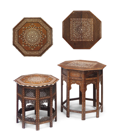 TWO ANGLO-INDIAN IVORY AND EBONY INLAID PADOUK AND TEAK OCTAGONAL TABLES