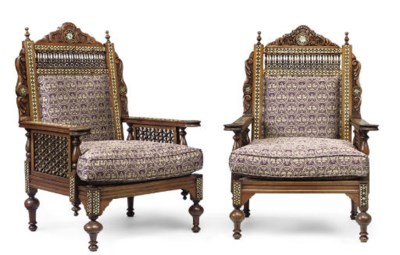 A PAIR OF OTTOMAN STYLE MOTHER