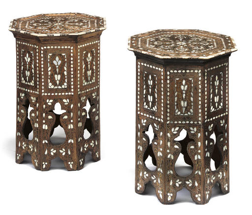 A PAIR OF OTTOMAN BRASS, IVORY