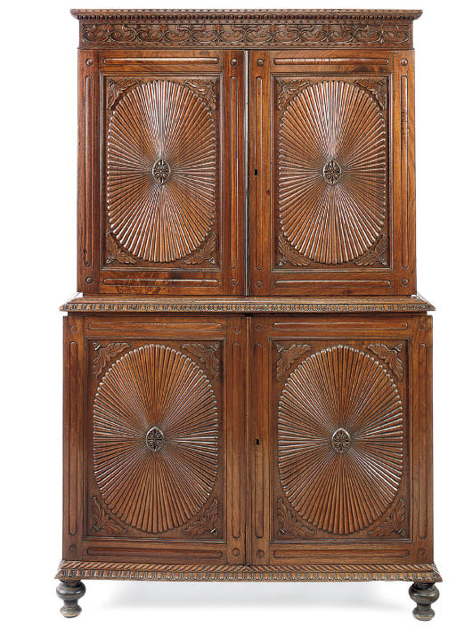 AN ANGLO-INDIAN CARVED PADOUK LINEN PRESS
