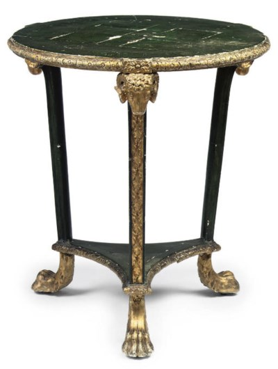 A GREEN-PAINTED GILTWOOD AND G