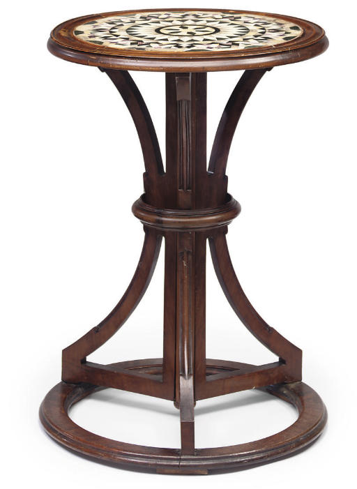 A WALNUT AND SPECIMEN MARBLE CENTRE TABLE