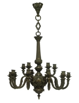 A BRONZE FIFTEEN-LIGHT CHANDEL