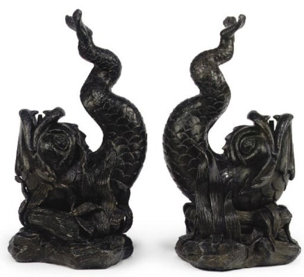 A PAIR OF LEAD FOUNTAIN SPOUTS