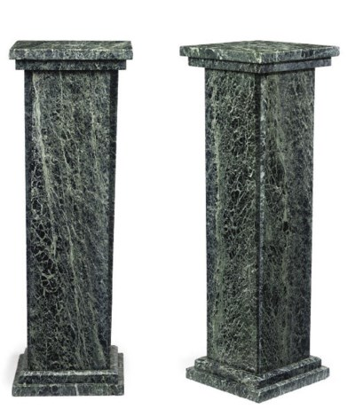 A PAIR OF MAURIN GREEN MARBLE