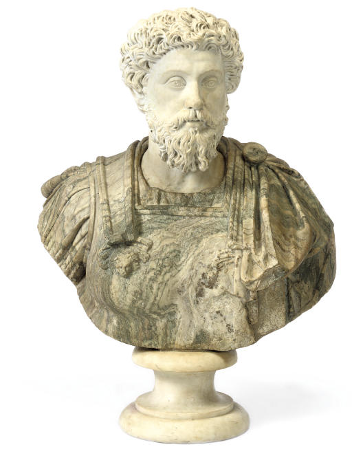 AN ITALIAN WHITE AND CIPOLLINO MARBLE BUST OF MARCUS AURELIUS