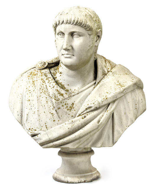 AN ITALIAN WHITE MARBLE BUST OF TITUS