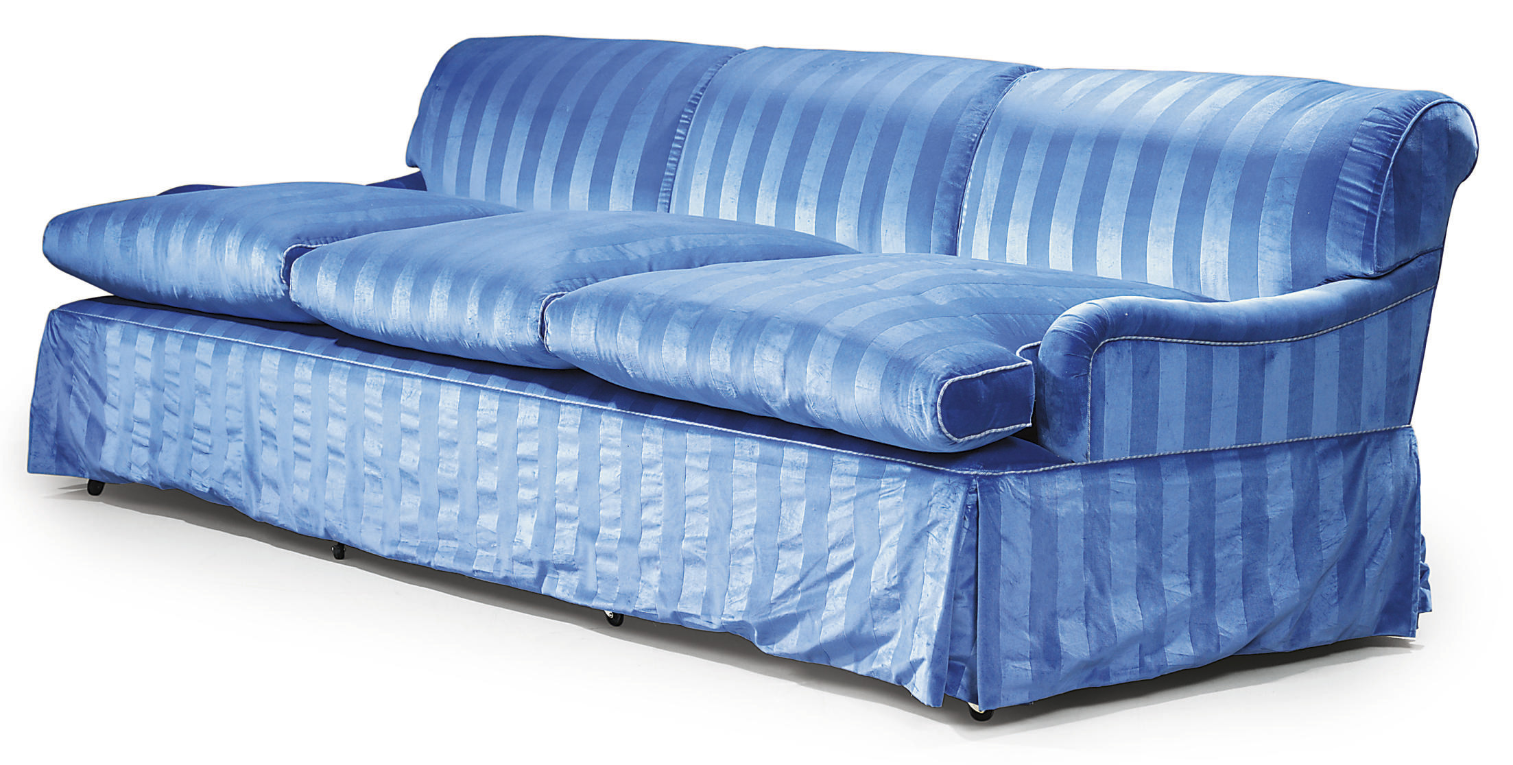 A LARGE MODERN UPHOLSTERED BLUE VELVET SOFA