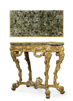 A ROMAN GILTWOOD CONSOLE TABLE