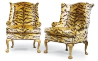 A PAIR OF MODERN GEORGE I-STYLE GILTWOOD WING ARMCHAIRS
