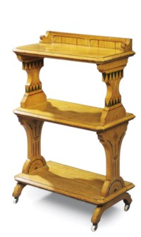 A LATE VICTORIAN STENCILLED ASH THREE-TIER WHATNOT
