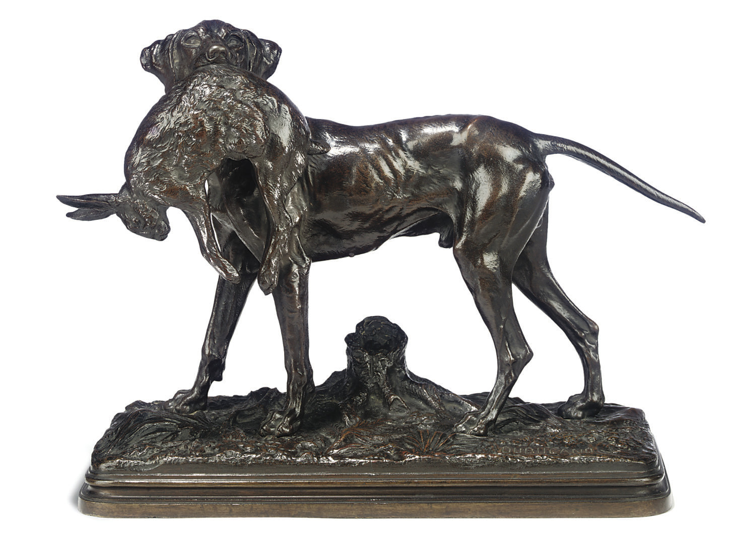 A FRENCH BRONZE GROUP OF A POINTER HOLDING A HARE