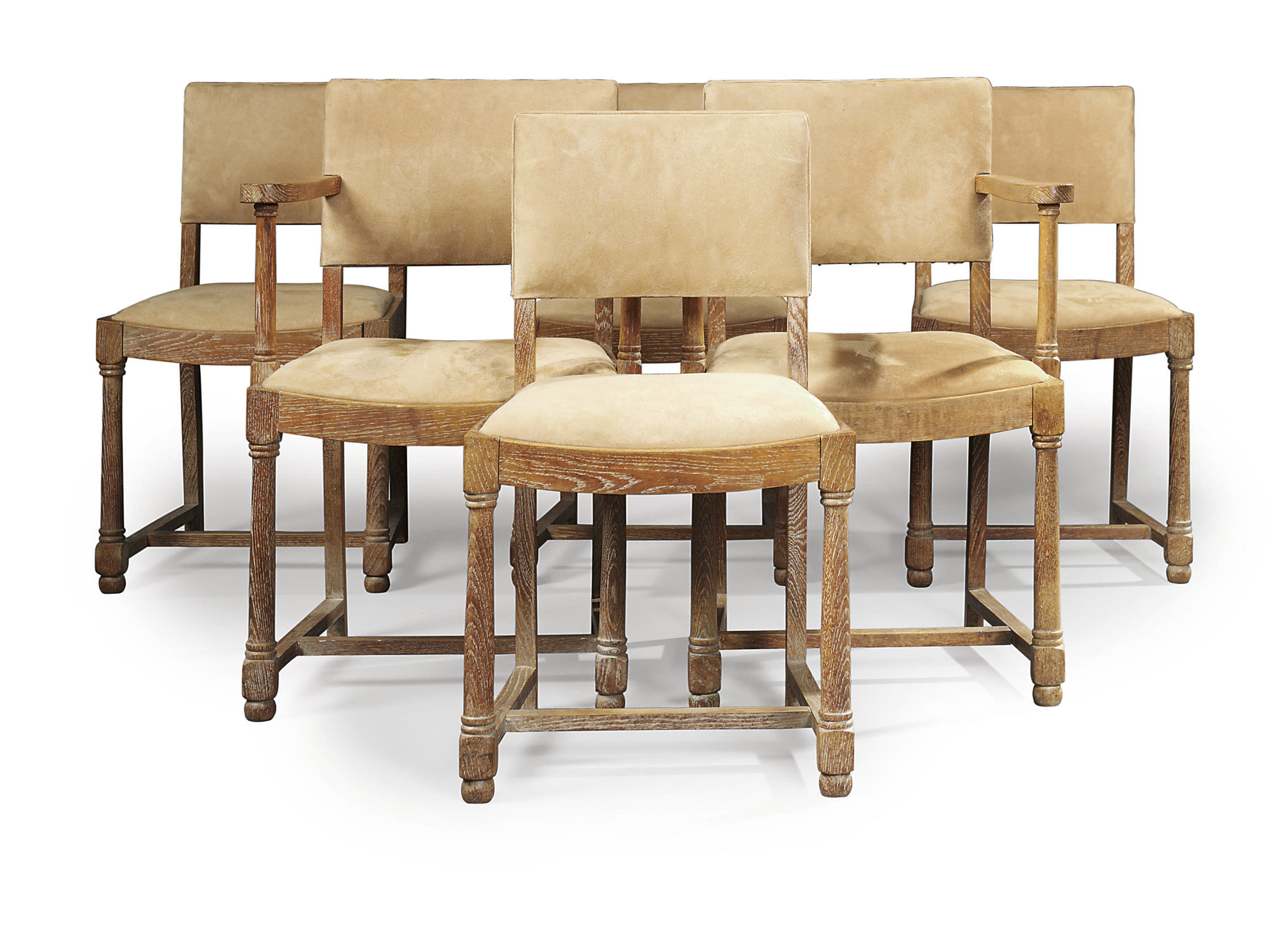 A SET OF SIX LIMED OAK DINING-CHAIRS