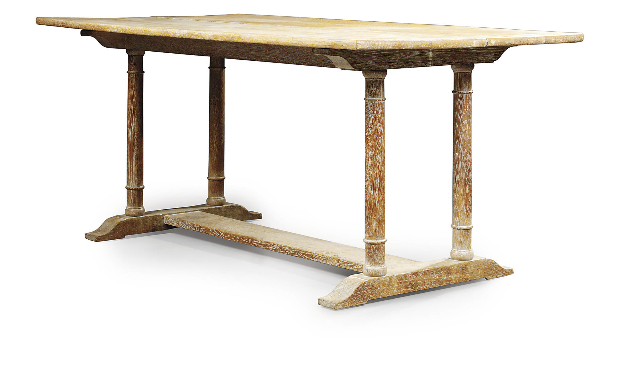 A HEAL'S LIMED OAK REFECTORY TABLE