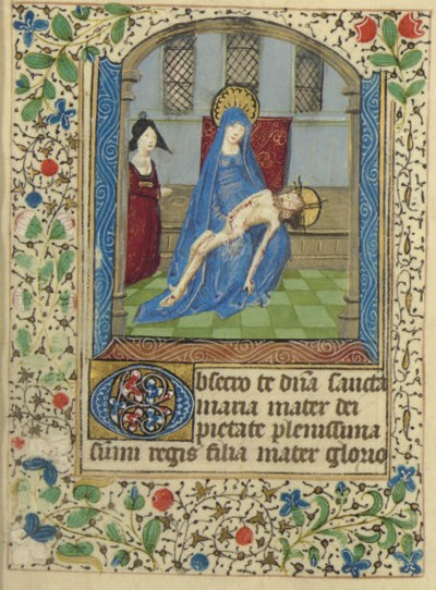 PIETÀ, miniature on a leaf fro