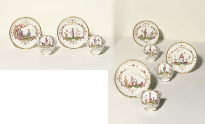 FIVE MEISSEN CHINOISERIE TEABO