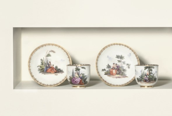 A PAIR OF MEISSEN COFFEE-CUPS