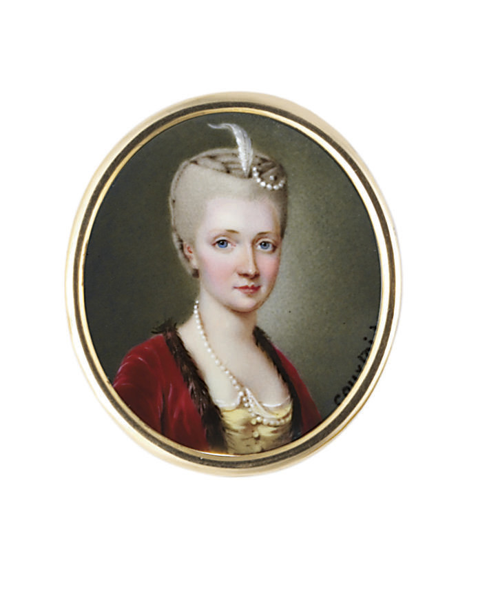 A young lady, in yellow satin gown with white lawn shift, fur-bordered claret-coloured velvet coat, strand of pearls fastened at corsage, white plume and pearls in her upswept powdered hair