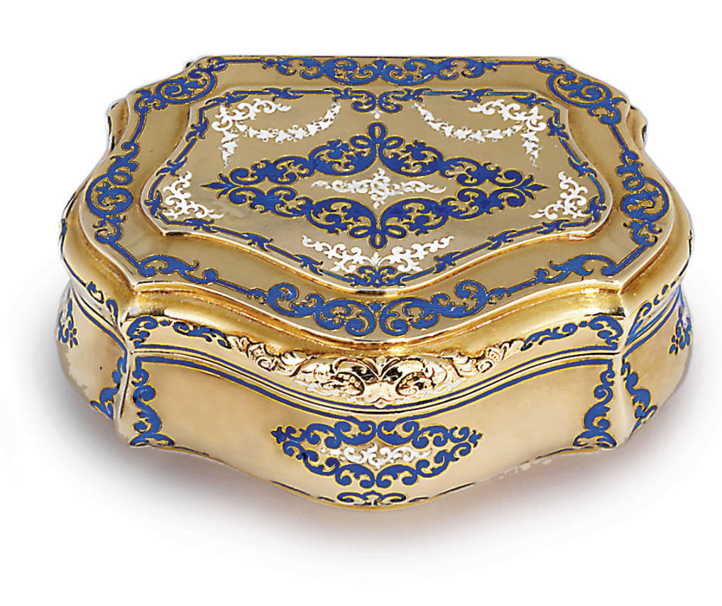 A GERMAN PARCEL-ENAMELLED GOLD SNUFF-BOX