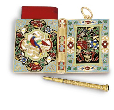 A SWISS ENAMELLED GOLD AIDE-MÉ