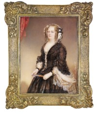 A lady, in brown silk dress with horizontal black stripes on the skirt and cording on the bodice, black lace accenting the collar and ribbon-gathered sleeves, cream-coloured broderie anglaise shawl, double strand of pearls secured with a pearl and gold medallion with pendant pearl strands, velvet ribbon and gold bracelets, daisies and black ribbons in her upswept and curled auburn hair, holding a tasselled fan; scarlet curtain background