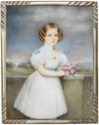 A girl, in white dress and pantaloons with blue bows at puff shoulders and blue sash, gold necklace and drop-pearl earring, her brown hair dressed in ringlets, holding a bouquet of pink roses; woodland landscape and sky background
