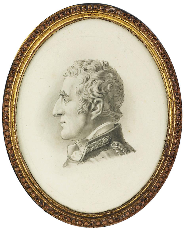 Arthur Wellesley, 1st Duke of Wellington (1769-1852), en grisaille in major-general uniform, gold braid embellishing the collar and his left shoulder