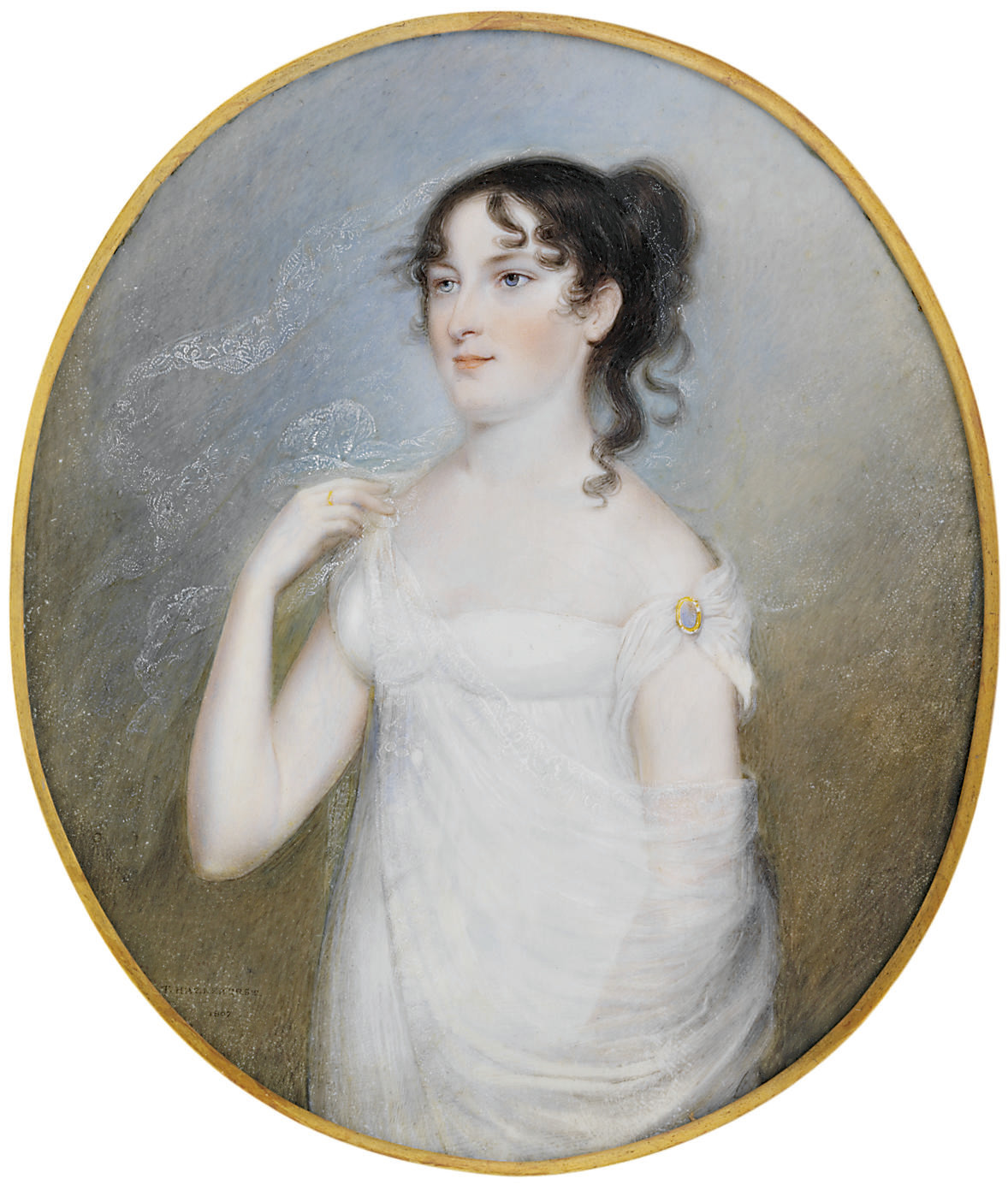 A young lady, as a bride, in white off-the-shoulder dress with brooch fastened to her left sleeve, white gauze veil partly wrapped around her body, upswept dark hair with loose ringlet falling on her left shoulder; sky background