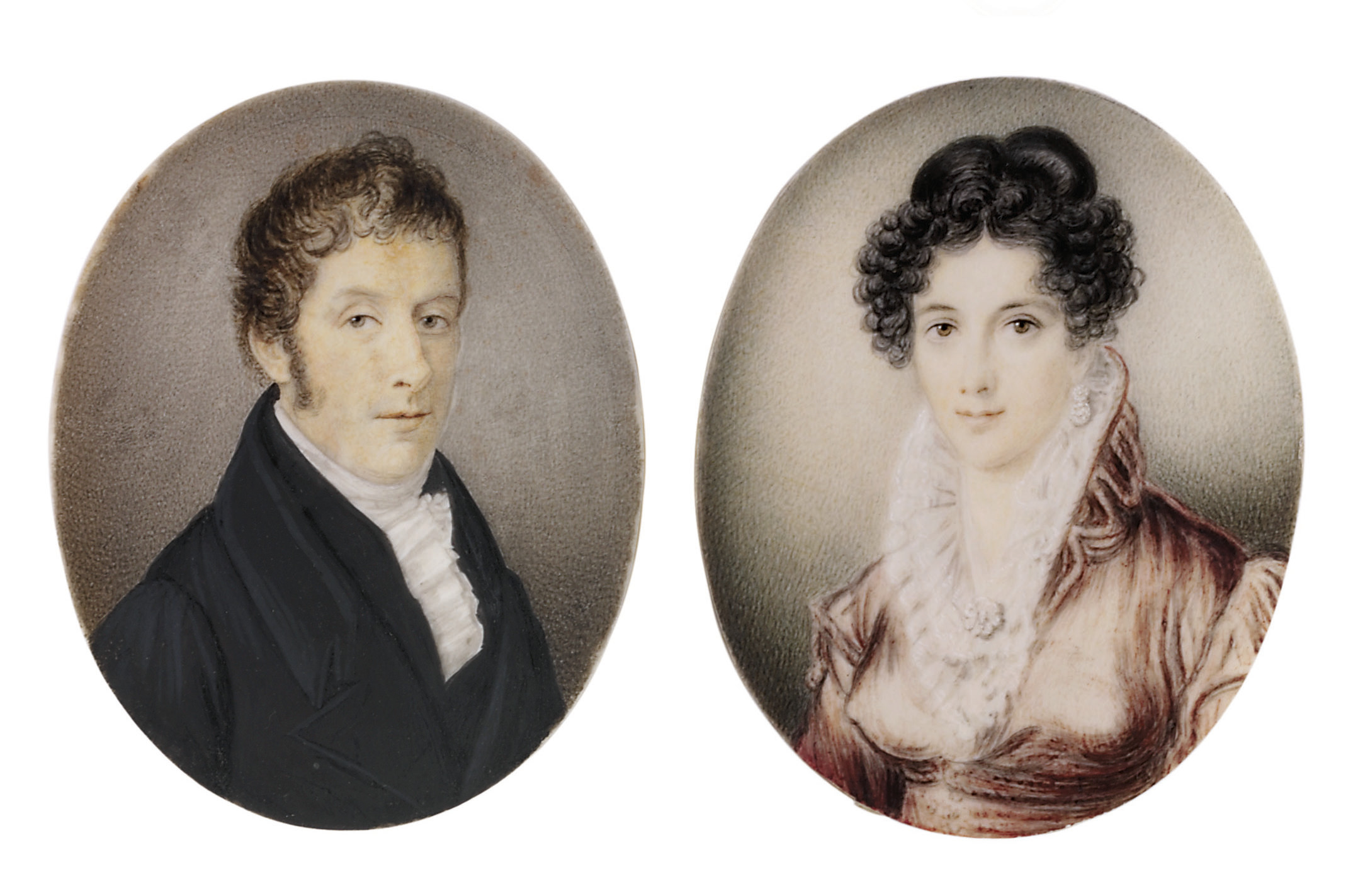 A pair of miniatures: a gentleman, in black coat and waistcoat, white frilled cravat; together with a young lady in pink coat, white underdress with frilled collar, drop-pearl earring, upswept curling brown hair