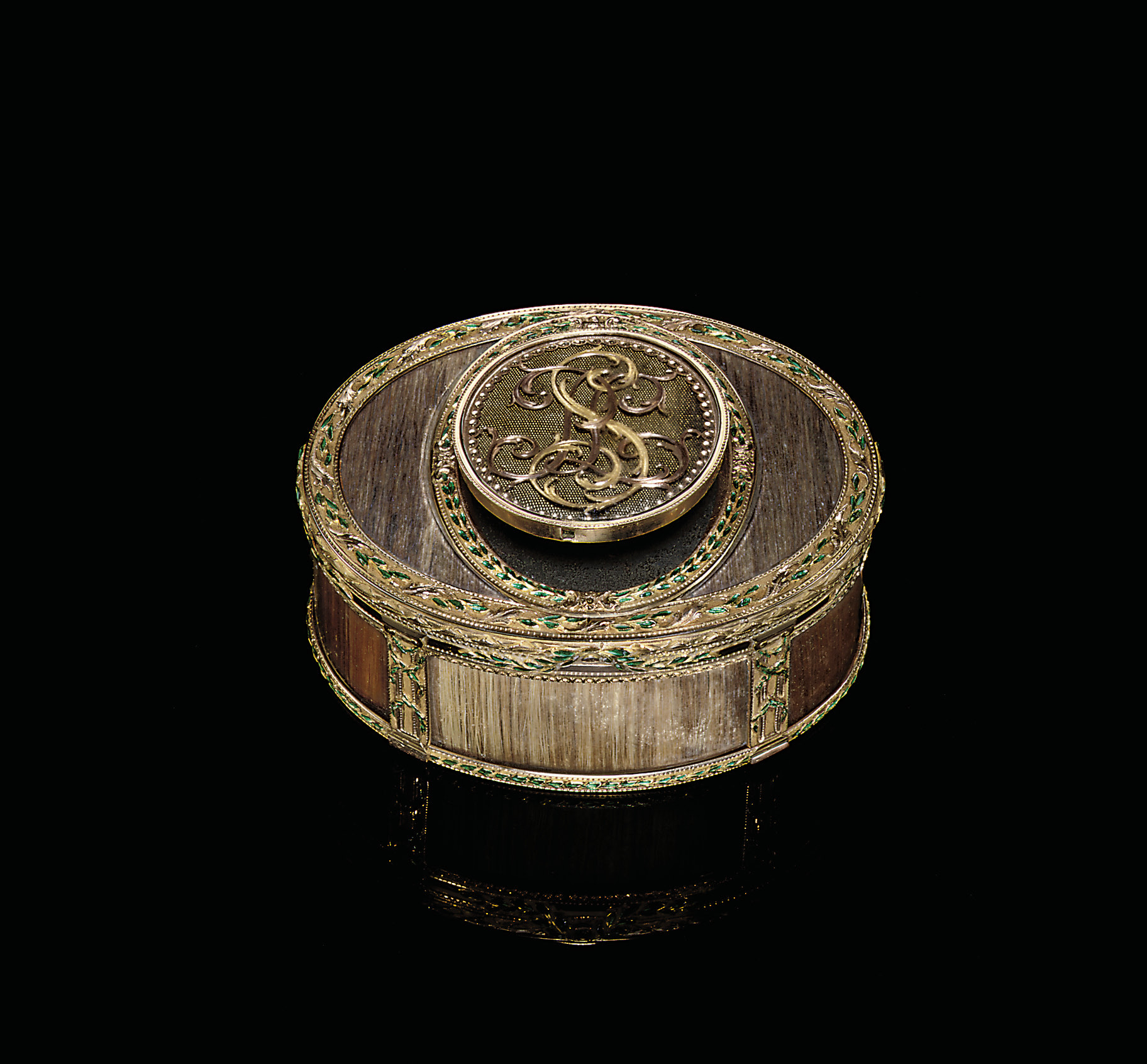 A LOUIS XVI PARCEL-ENAMELLED GOLD AND HAIR BOÎTE-À-SECRET