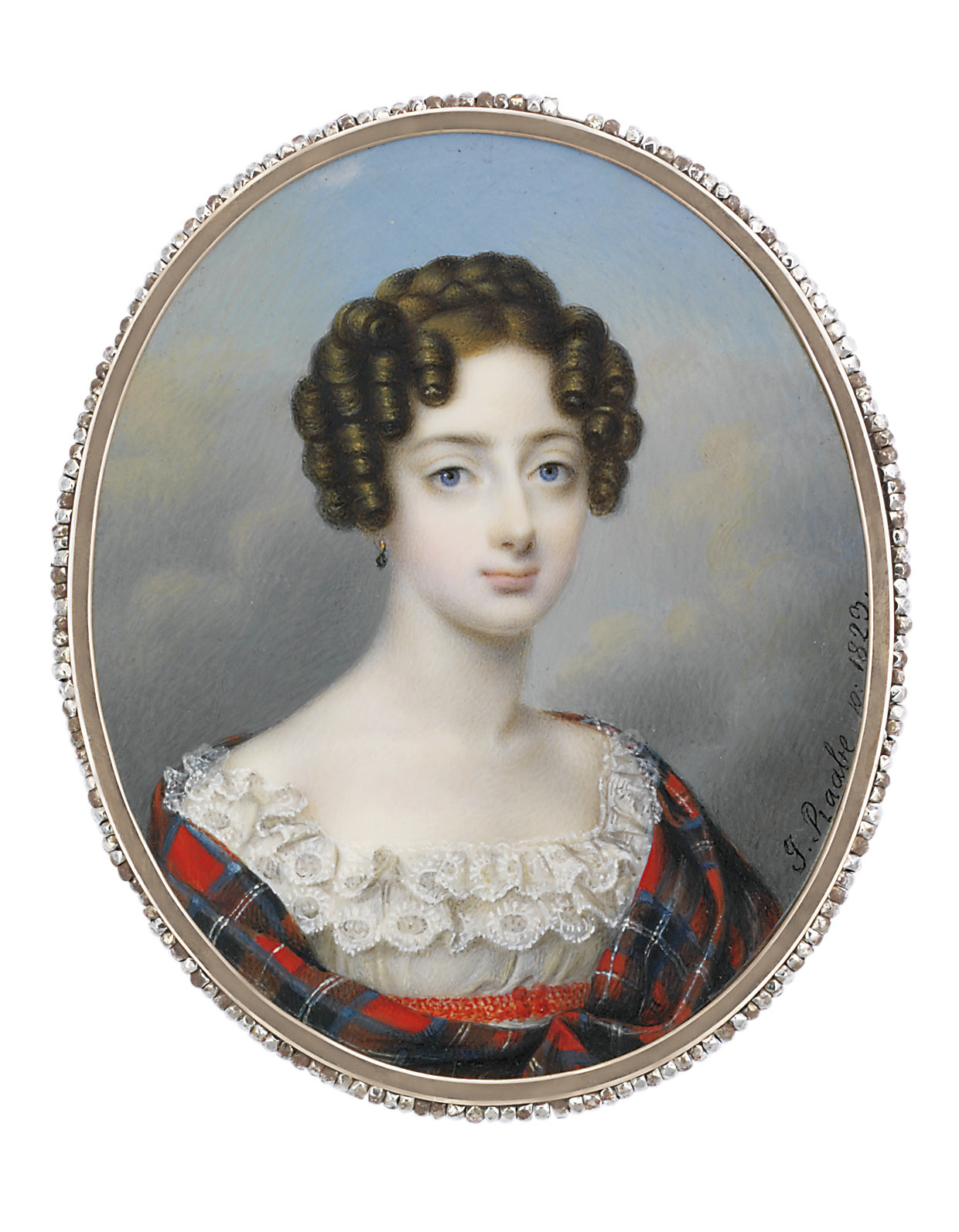 A young lady, in white muslin dress with two layers of valenciennes lace bordering the square neckline, red crochet sash, tartan wool shawl, gilt pendant earring