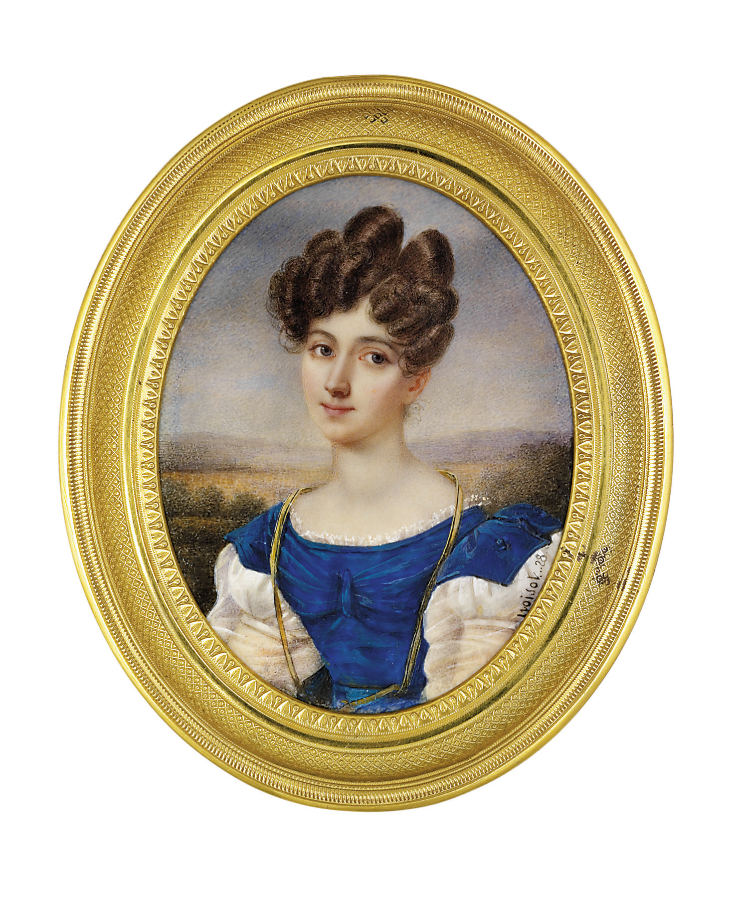 A young lady, in dress with blue velvet bodice and shoulder wings and white gauze sleeves, white shift, long gold necklace, upswept curling brown hair; sky and landscape background