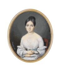 A young lady, seated in white dress with pleated and frilled sleeves, pale blue belt, gold-drop earrings, her dark hair upswept in a plait, holding a small book in her right hand