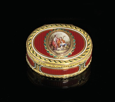 A GERMAN ENAMELLED GOLD SNUFF-
