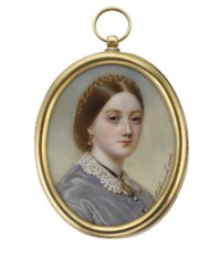 A young lady, in grey-blue satin dress with white crochet lace collar, engraved gold locket on black ribbon necklace, gold-mounted garnet drop-pendant earrings, a plait of hair crowning her centre-parted red hair