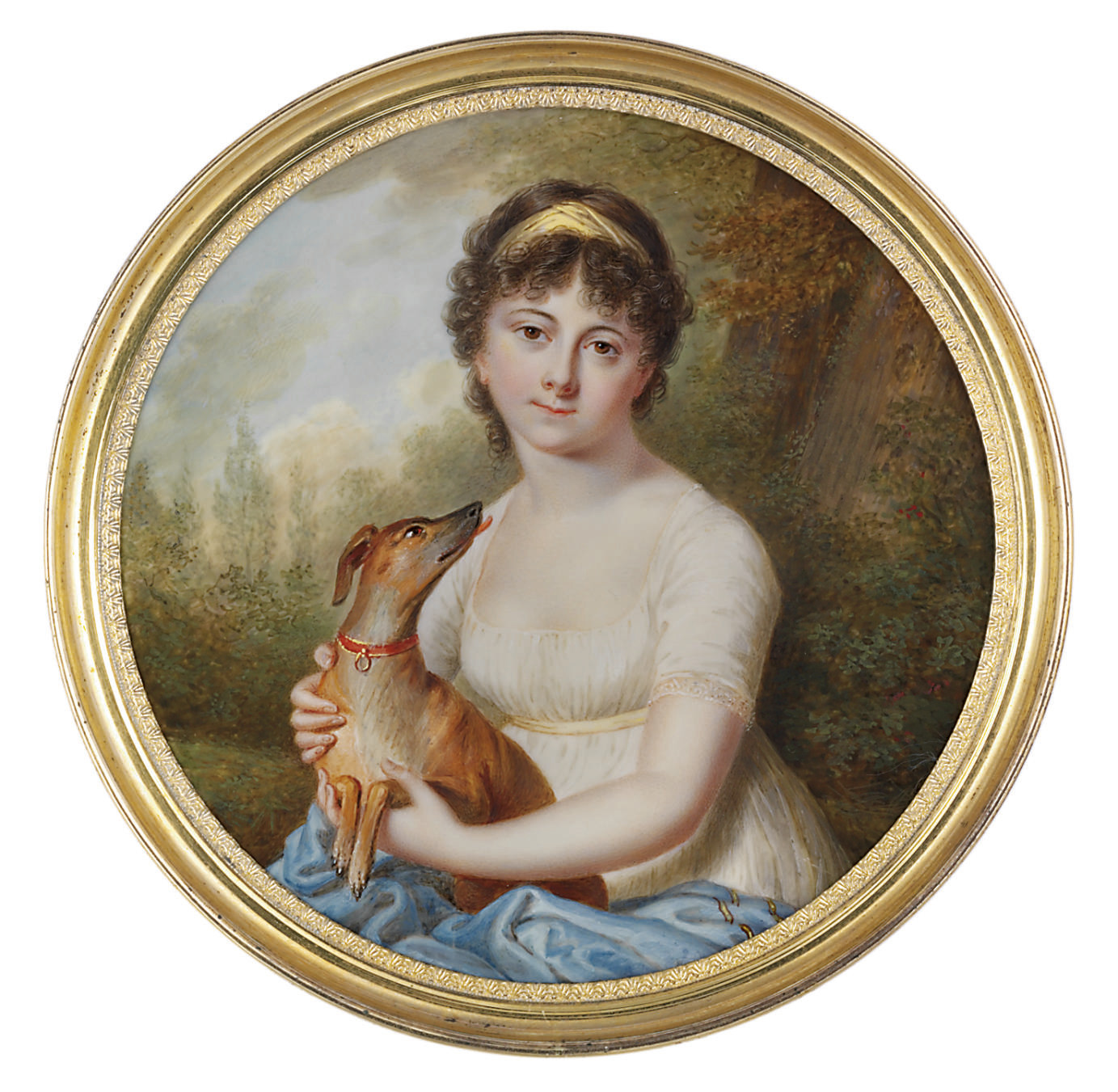 Pauline-Jeannette Glashoff (1780-1801), in white muslin day gown with lace-bordered sleeves and yellow sash, blue Cashmere shawl with yellow accents, yellow bandeau in her brown curling hair, holding a German Smooth Haired Pinscher in red collar; landscape background