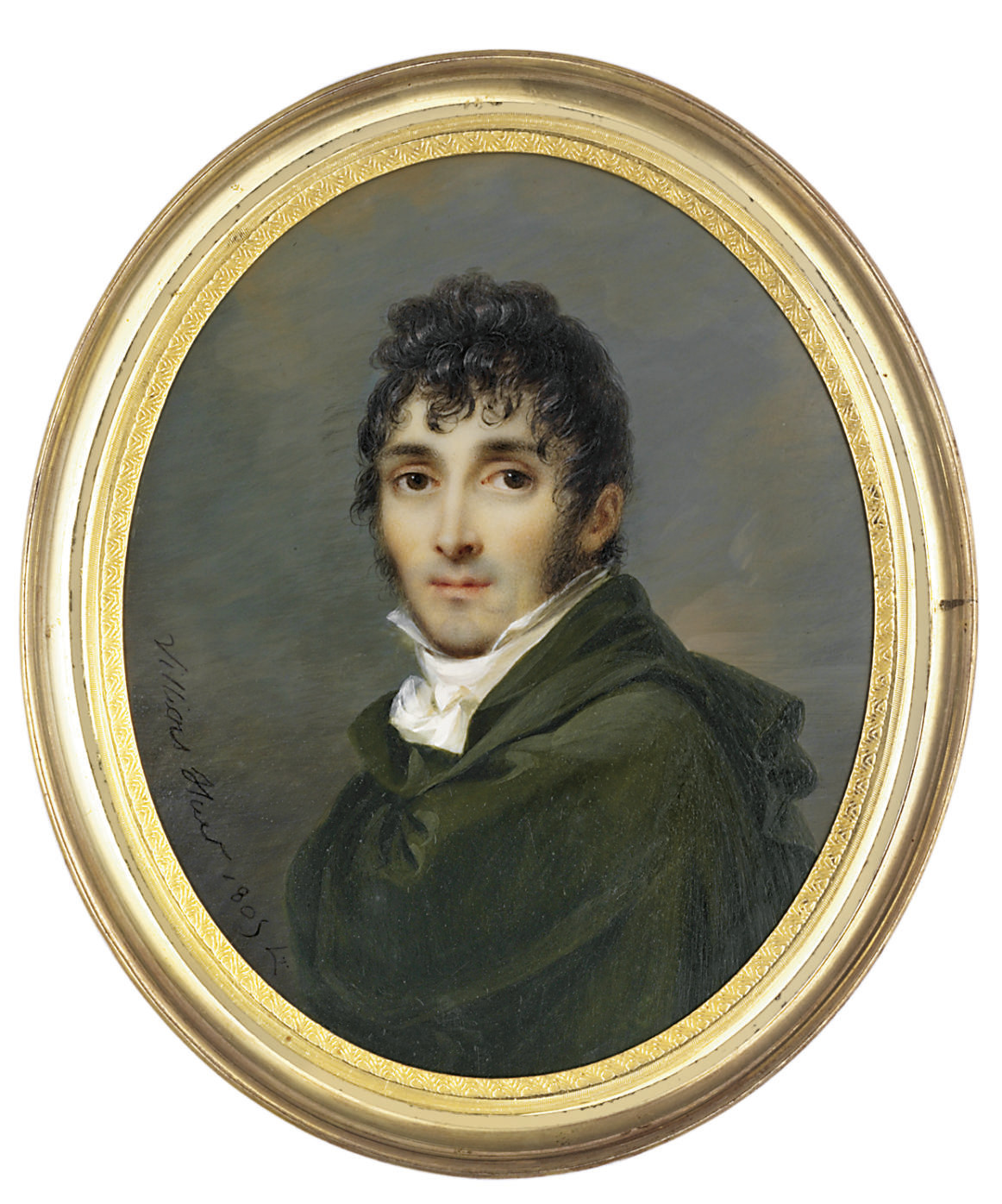 A young gentleman, in green cloak, white shirt with knotted cravat