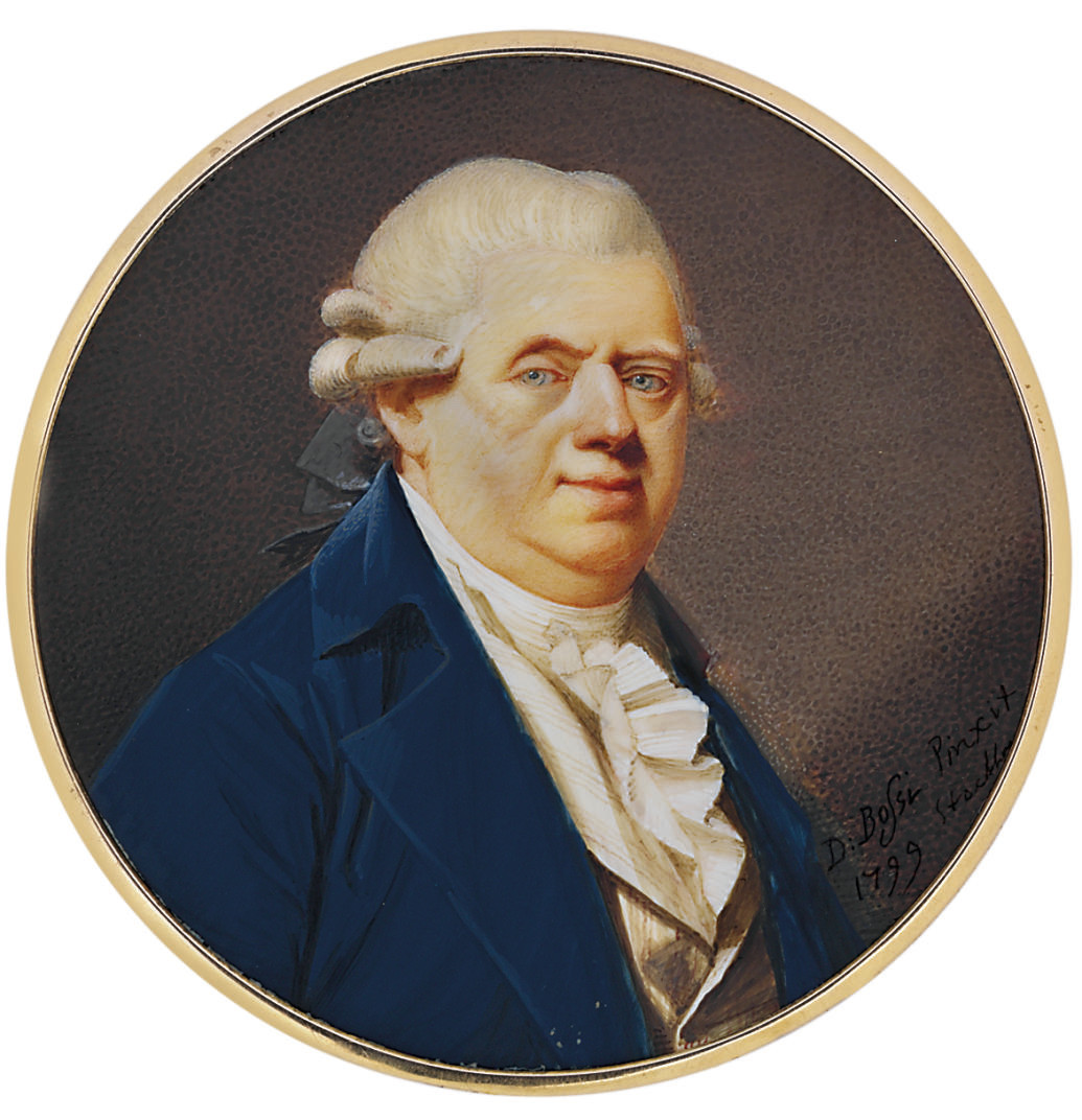 Joakim Daniel Wahrendorff (1726-1803), a councillor in the Chamber of Commerce, in blue coat, beige striped waistcoat, white shirt and frilled cravat, powdered wig en queue