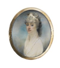 A lady, in white dress with frilled shawl collar, a white ribbon in her powdered curling hair; sky background