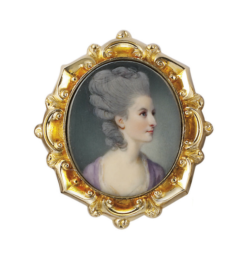 Catherine Osbaldeston, née Pennington (d. 22 December 1824), in lilac robe à l'anglaise with white linen stomacher and scarf, powdered and padded upswept hair