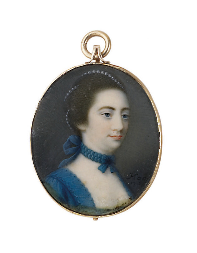 Elizabeth Hamilton, the artist's sister, in cornflower-blue satin robe à la française with white lace-lined stomacher, blue ruched ribbon bow tied around her neck, pearls interweaving her brown upswept hair
