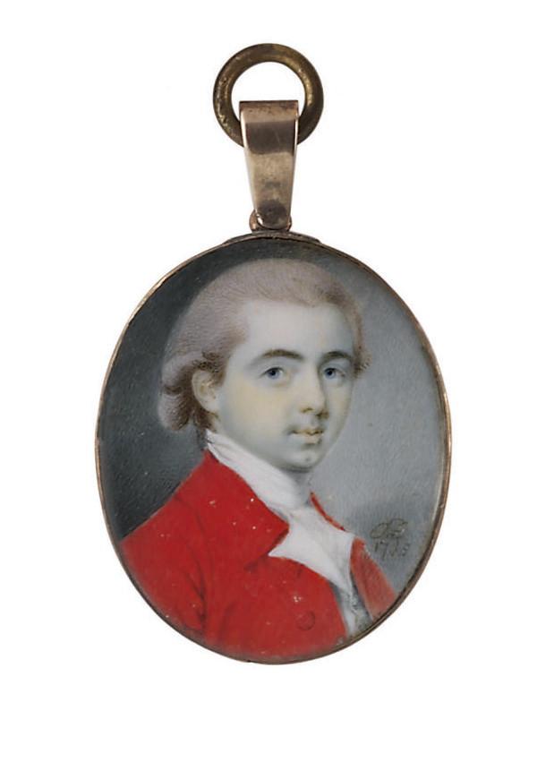 A young gentleman, in red coat, white waistcoat, white cravat, powdered hair en queue