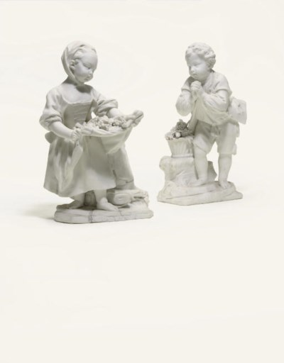 TWO SEVRES WHITE BISCUIT FIGUR